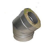 Колено 45˚ для дымохода из нержавеющей стали с термоизоляцией в оцинкованном кожухе d 120/180