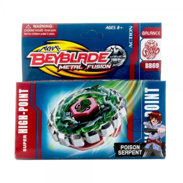 """Beyblade """"Metal Fusion"""". Набор """"Бей Блейд"""" Super High-Point """"Poison Serpent"""" (BB69): магнитный волчок с механическим веревочным пускателем, стикеры."""