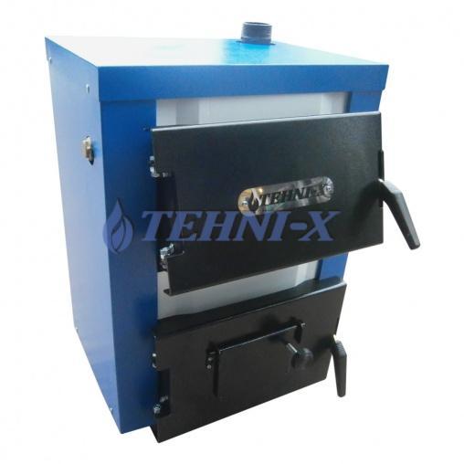 Tehni-x КОТВ-10-эконом твердотопливный котёл 2в1-м с чугунными колосниками мощность 10квт