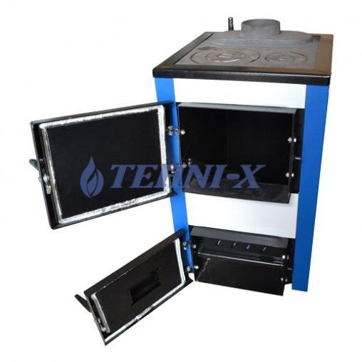 Электро-твердотопливный котел эконом класса с чугунными колосниками и варочной плитой Tehni-x KOTВ18-УП тайга-мини 18 кВт