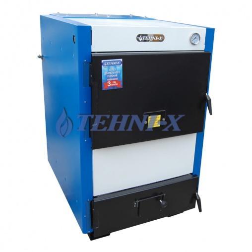 Tehni-x KOTВ-50-ДГ Professional котёл длительного горения с охлаждаемыми колосниками 50 кВт с турбинкой и программатором в комплекте, возможна установка чугунных колосников