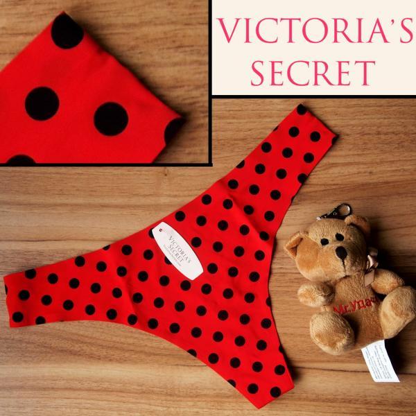 Бесшовные стринги  Victoria Secret красные в горошек