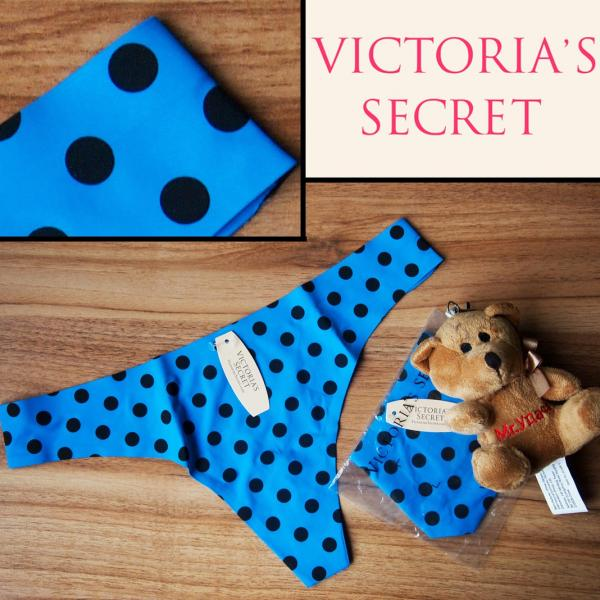 Бесшовные стринги  Victoria Secret синие в горошек
