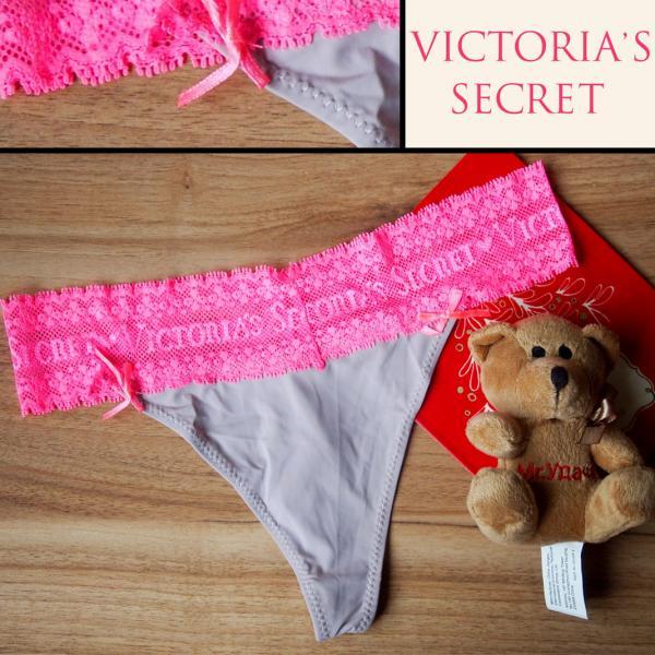 Стринги Victoria Secret серые с розовой гипюровой резинкой
