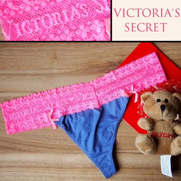 Стринги  Victoria Secret сиреневые с розовой гипюровой резинкой