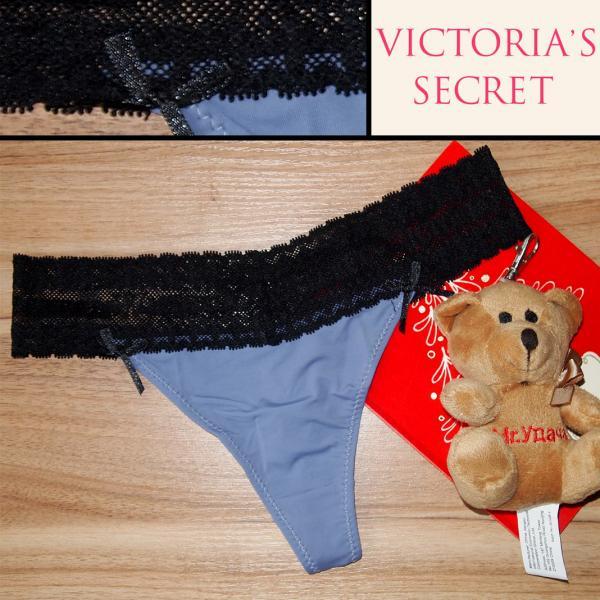 Стринги  Victoria Secret сиреневые с чёрной гипюровой резинкой