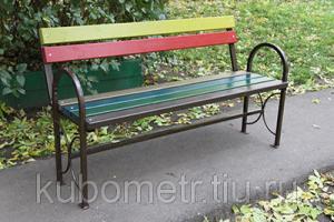 Фото Скамейки садовые Садовая скамейка со спинкой цветная