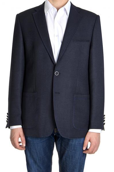 Пиджак плотный, темно-синий.