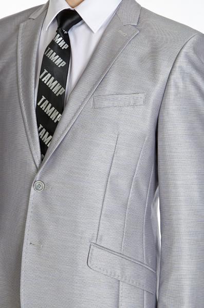 Фото Костюмы Костюм приталенный, светло-серый, с блеском.
