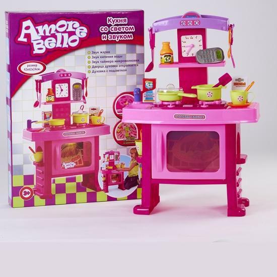 """игровой набор """"кухня"""" 7295r/689450-r, на батарейках, звук жарки, кипящей воды, таймера, открывается дверца, набор посуды, в коробке:"""