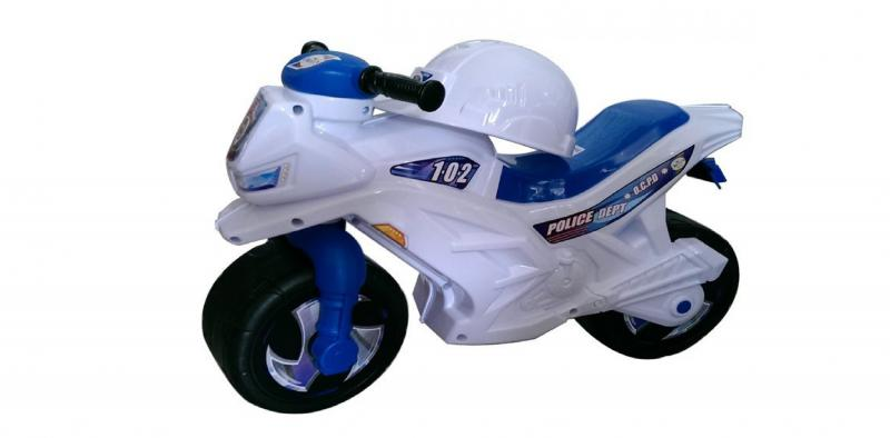каталка мотоцикл 2-х колесный белий, орион