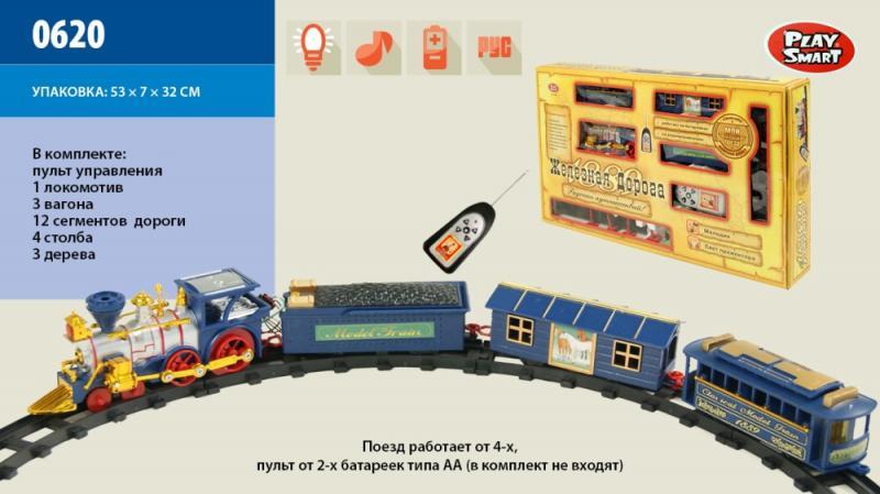 """настольная игра """"железная дорога"""" 0620, с световым и музыкальным эфектом, на батареках, на р/у, поезд, 3-вагона, в коробке: 53х31х7 см"""