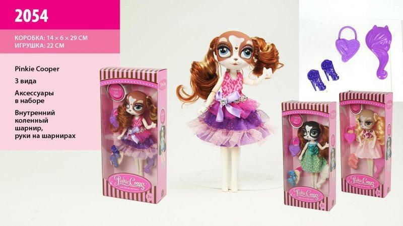 """кукла """"pinkie cooper """" 2054 (72шт/2) 3 вида, с акс., на шарнирах, в кор."""