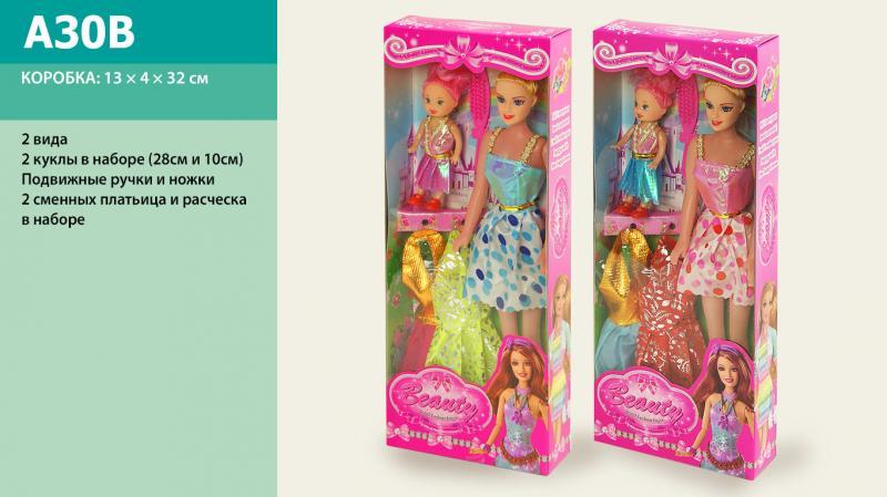 """кукла типа """"барби"""" a30b, + с маленькой куколкой и одеждой в наборе, в коробке: 13х4х32 см"""