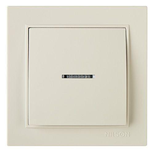 Выключатель одноклавишный с подсветкой Nilson Thor  Белый