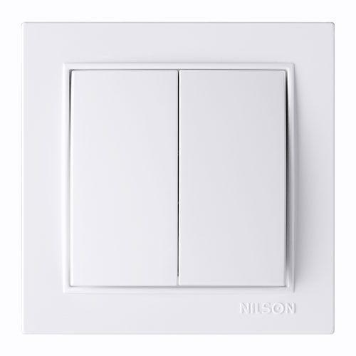 Выключатель двухклавишный Nilson Thor  Белый