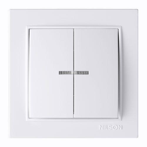 Выключатель двухклавишный с подсветкой Nilson Thor  Белый