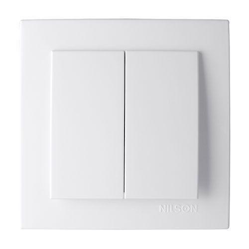 Выключатель двухклавишный Nilson Touran Белый
