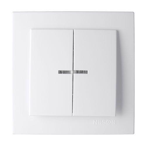 Выключатель двухклавишный с подсветкой Nilson Touran Белый