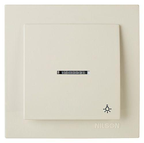 Выключатель кнопка с подсветкой Nilson Touran Бежевый