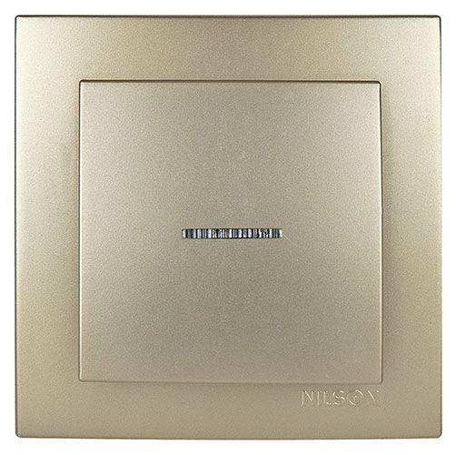Выключатель одноклавишный с подсветкой метталик Nilson Touran Золото