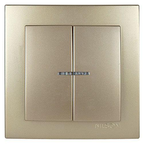 Выключатель двухклавишный с подсветкой метталик Nilson Touran Золото