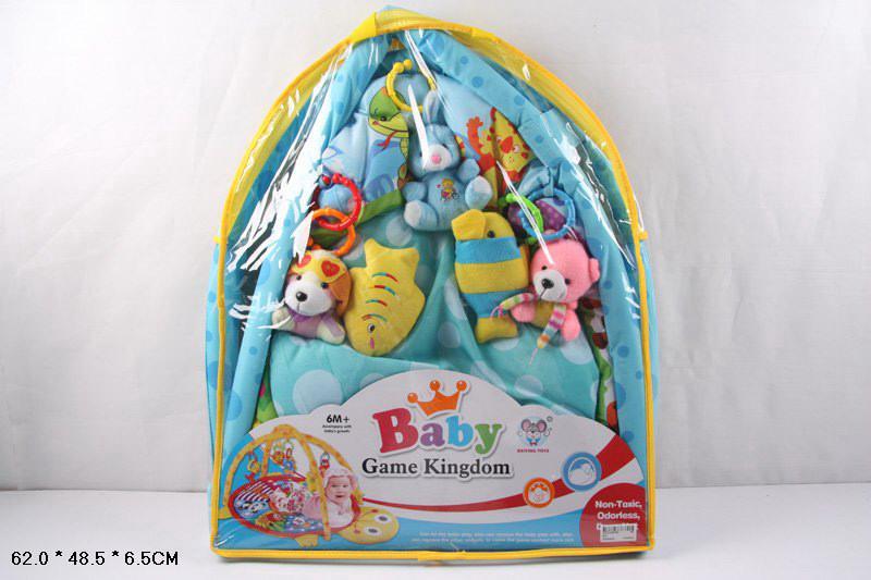 коврик развивающий для малышей 615, с мягкими погремушками на дуге, в сумке: 62х49х7 см