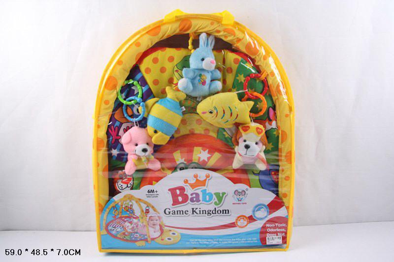 коврик развивающий для малышей 620, с мягкими погремушками на дуге, в сумке: 59х49х7 см