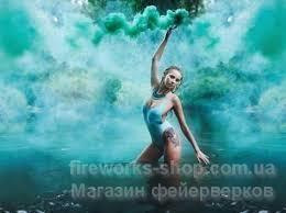 Фото Цветные дымы, сигнальные огни (файера) дым зеленый
