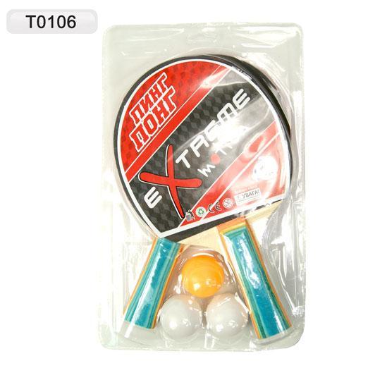 теннис настольный t0106, 2-ракетки + 3 мячика, под слюдой: 25х15 см