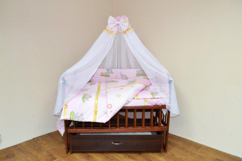 постельный комплект в детскую кроватку 8-ми предметный, №60,2 + карман слонята на розовом