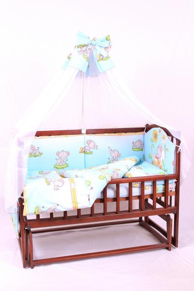 постельный комплект в детскую кроватку 8-ми предметный, №32,1 + карман слонята на голубом
