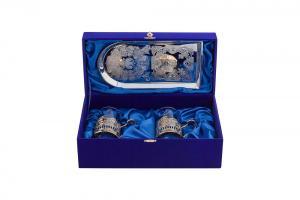 Фото Подстаканники, Подарочные наборы Футляр под два подстаканника и поднос для чая ФЛОК