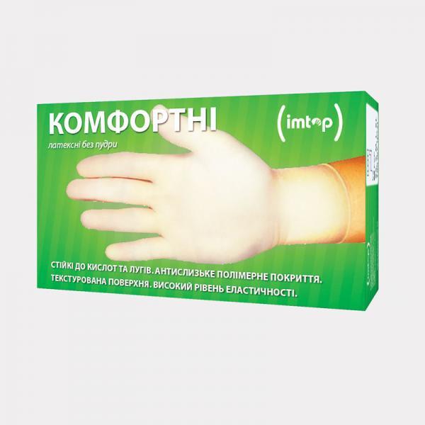 Перчатки латексные неопудренные IMTOP (100 шт)