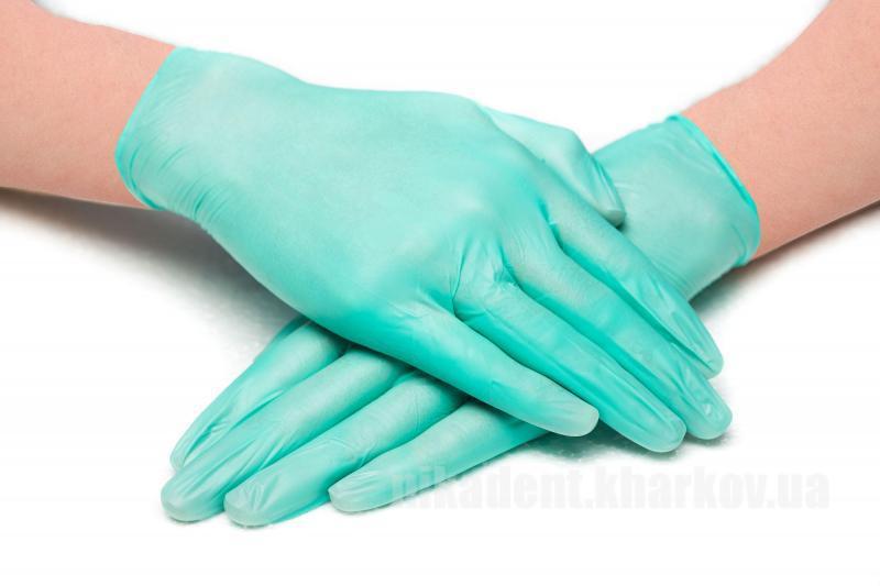 Фото Для стоматологических клиник, Расходные материалы Перчатки виниловые неопудренные зеленые (100шт)