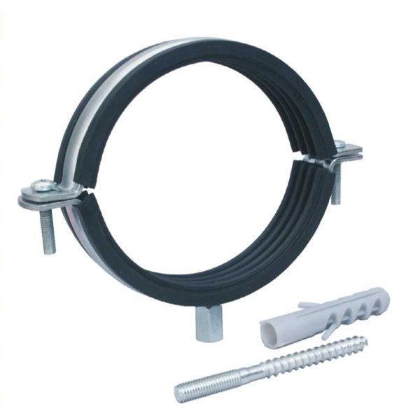 """Хомут для труб сантехнических 1-1/4"""" (42-47 мм) разборной с резиновой прокладкой (дюбель+шпилька)."""