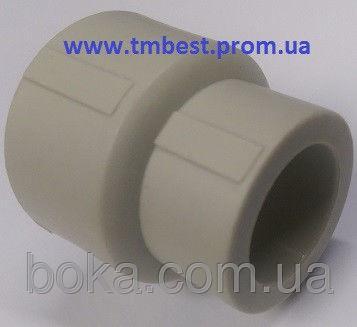 Муфта редукционная полипропиленовая ппр диаметр 40х20 для перехода труб по диаметру.