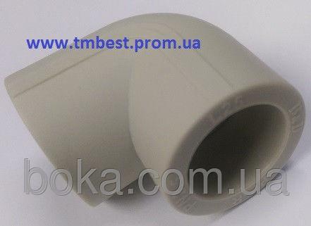 Угол полипропиленовый ппр диаметр 50х90 градусов для поворотов под углом в системах отопления.