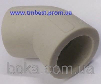 Угол полипропиленовый ппр диаметр 40х45 градусов для поворотов труб под углом.
