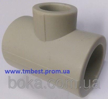 Тройник полипропиленовый редукционный диаметр 40х25х40 для разводки воды в системах отопления.