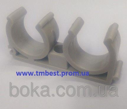 Крепеж полипропиленовый(ППР) для труб диаметр 20(двойной) для крепежа труб в системах отопления.