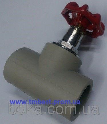 Вентиль полипропиленовый диаметр 25(ромашка) для плавного перекрытия воды в системах водоснабжения.