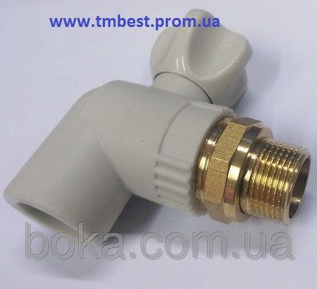 """Кран радиаторный(батарейный) угловой(КБУ) 20х1/2"""" ППР(PPR) для подключения радиаторов отопления."""