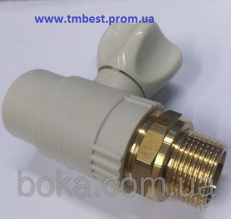 """Кран радиаторный(батарейный) прямой(КБП) 20х1/2"""" ППР(PPR) для подключения радиаторов отопления."""