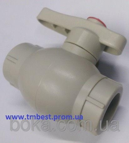 Кран шаровый диаметр20 полипропиленовый со стальным шаром ППР(PPR) для перекрытия воды в системах.