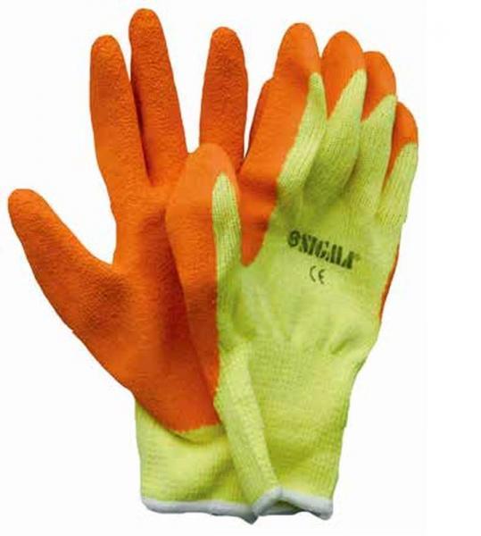 перчатки трикотажные 10G латекс кринкел на ладоне (економ)