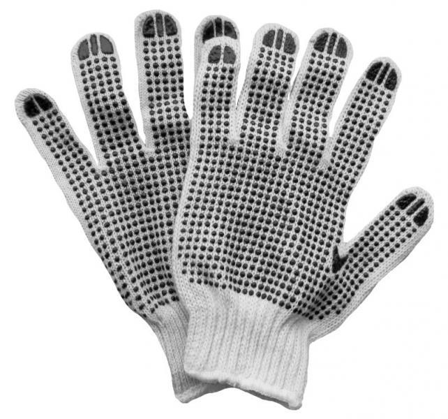 """перчатки трикотажные с точечным """"ПВХ"""" покрытием (манжет бесшовные)"""
