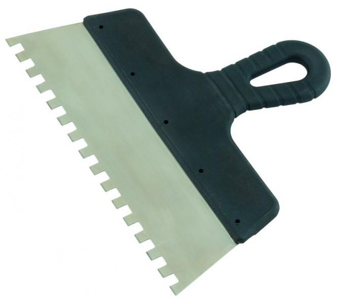 шпатель нержавеющий зубчатый 250мм 8х8