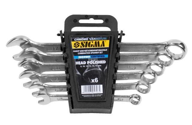ключи рожково-накидные 6шт 8-17мм CrV head polished