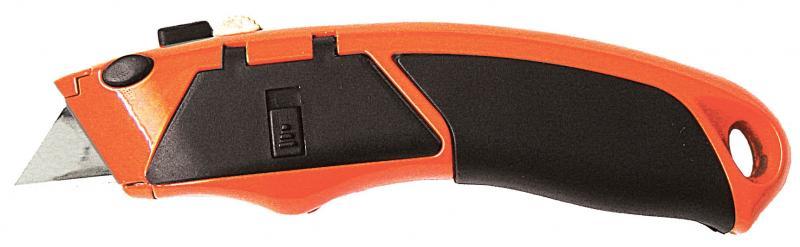 нож метал/резина корпус лезвие трапеция 5шт автоматический замок